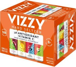 Twelve Pack of Vizzy Hard Seltzer on White Background