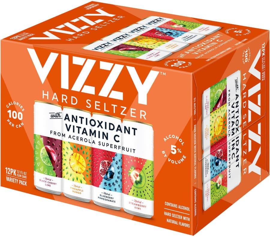 Twelve Pack of Vizzy Hard Seltzer on White Background