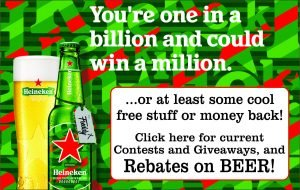 Advertisement for Free Heineken Beer Giveaway