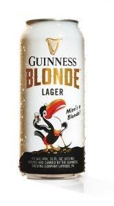 Bottle of Guinness Blonde on White Background