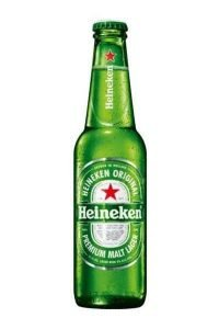 Bottle of Heineken Lager on White Background