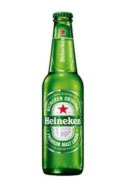 Bottle of Heineken Lager on White Background
