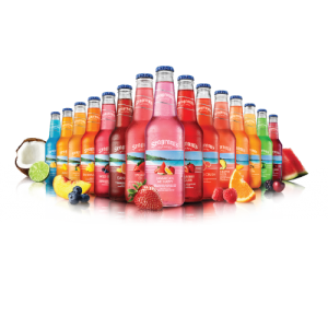 Selection of Seagrams Bottles of Different Flavors Lined Up on White Background with Pieces of Fruit
