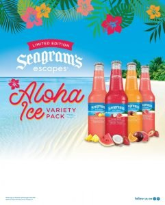 Seagram's Escapes Aloha Ice Variety Pack on Beach Advertisement