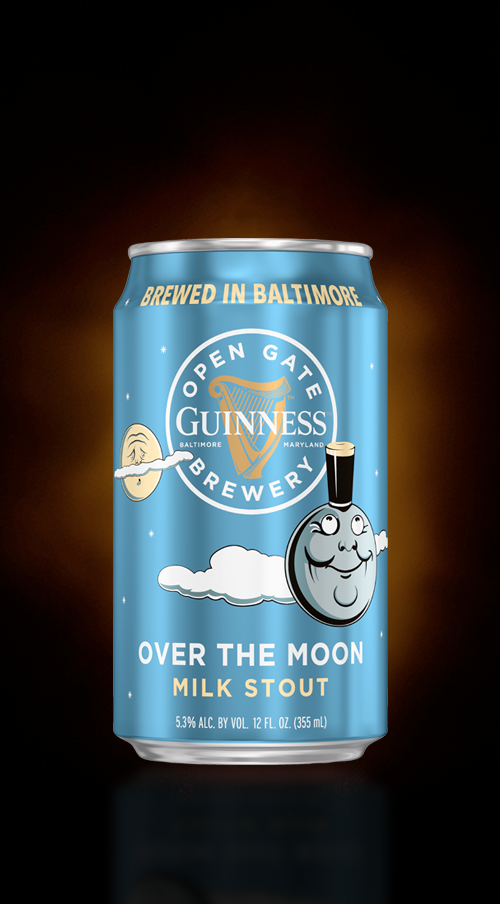 Closeup of Guinness Over The Moon Milk Stout Can