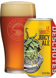 Can of Deschutes Lil' Squeezy Juicy Ale Next to Full Glass
