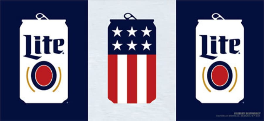 Beer can with American flag pattern
