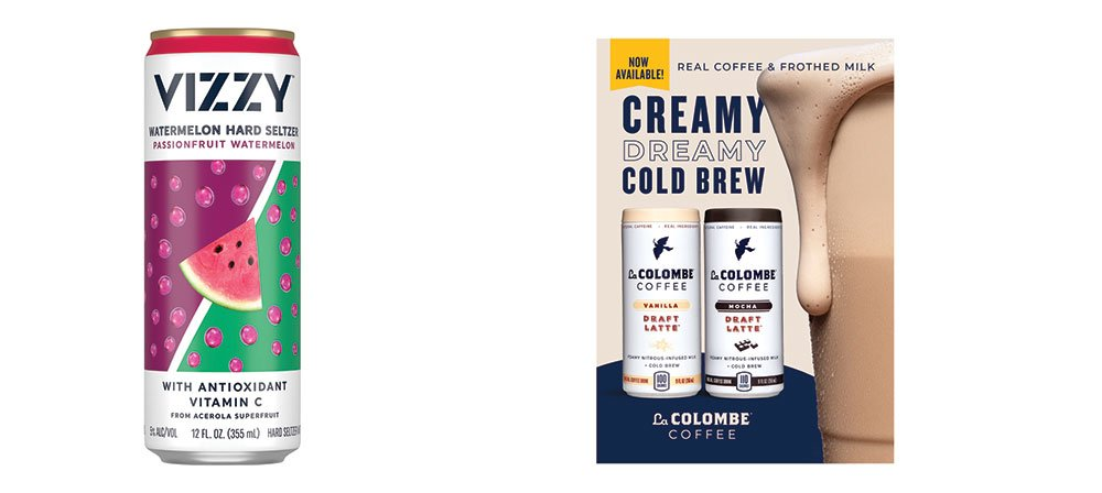 can of Vizzy Hard Seltzer and a can of La Colombe Coffee Cold Brew